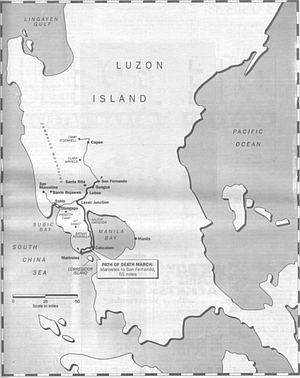 """""""They were taking us from Mariveles up the east coast of Bataan to San Fernando in Pampanga Province. Pampanga's the next province above Bataan. They held POWs in San Fernando in a cockfight arena."""""""
