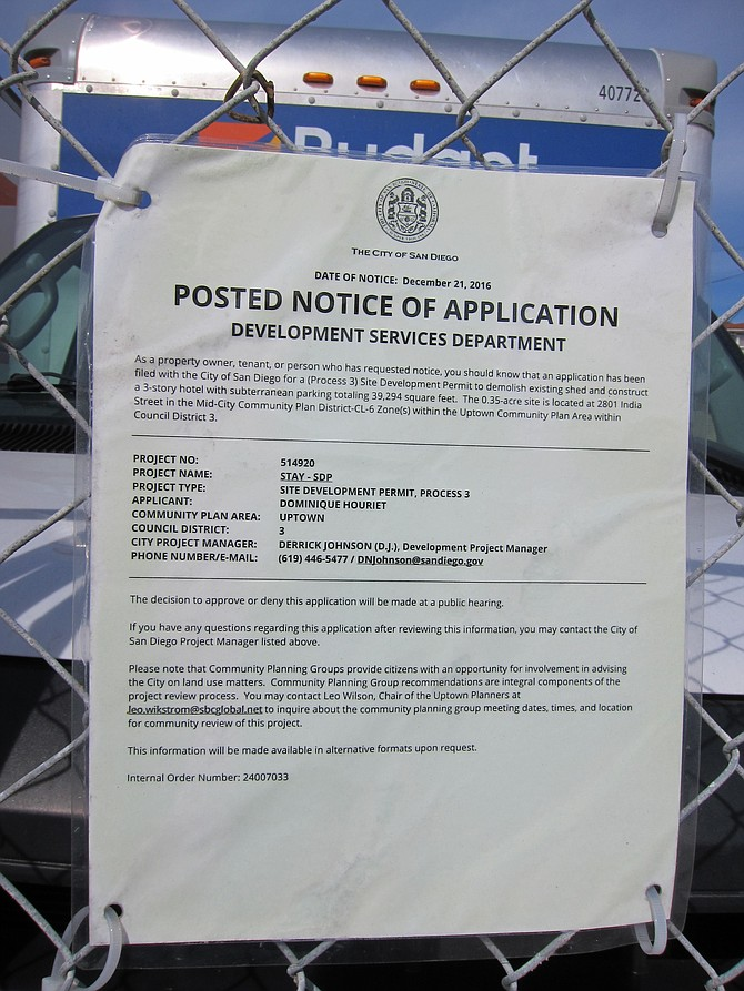 The city posted notice of the project in December.