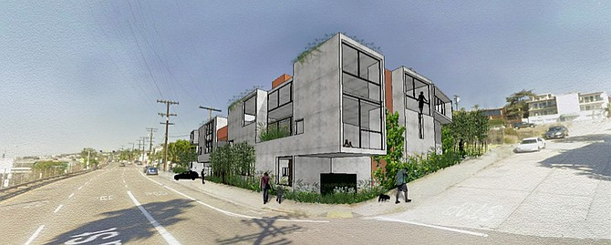 Rendering of hotel From corner of India and W Olive, off the I-5)