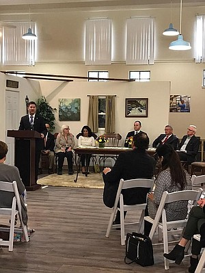 Chris Ward at Father Joe's meeting on Mar. 30. Father Joe's Village said they made commitment to provide 2000 affordable housing units for the homeless in the next few years.