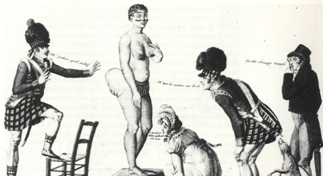 French print of Sara Baartman on display