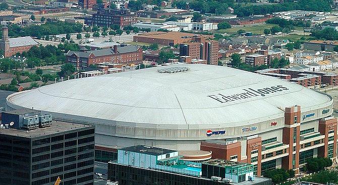 """St. Louis Rams stadium. """"The discovery phase of the St. Louis suit promises to be oh, so tasty."""""""
