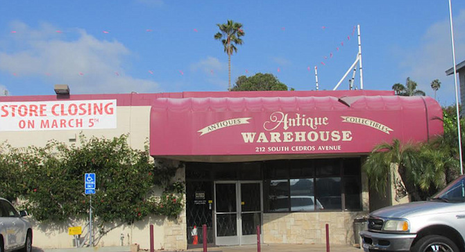 """Antique Warehouse in Solana Beach. """"To antique malls, public enemy number one is e-Bay."""""""