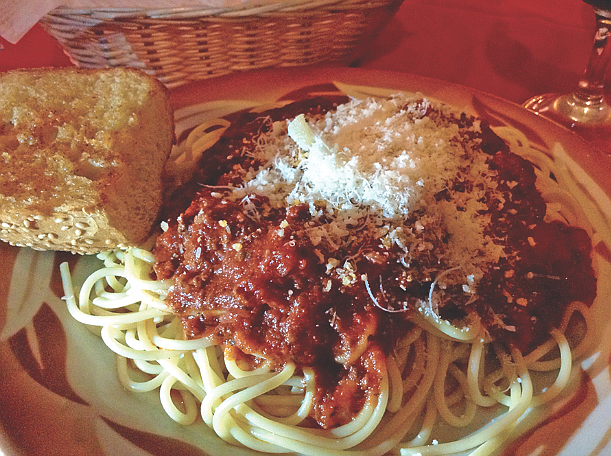 The $6.99 spaghetti dish, comes with a choice of meat sauce, marinara sauce, or a veggie alternative.