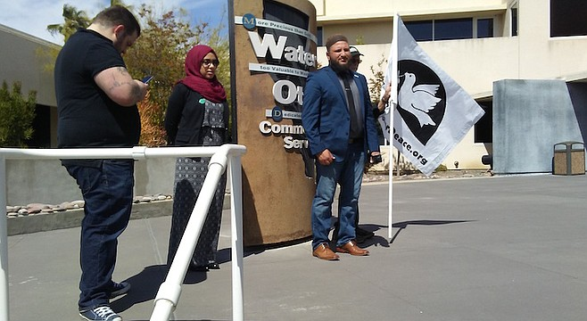 Fayaz Nawabi, Mona Dibas, James Elia outside Otay Water Board