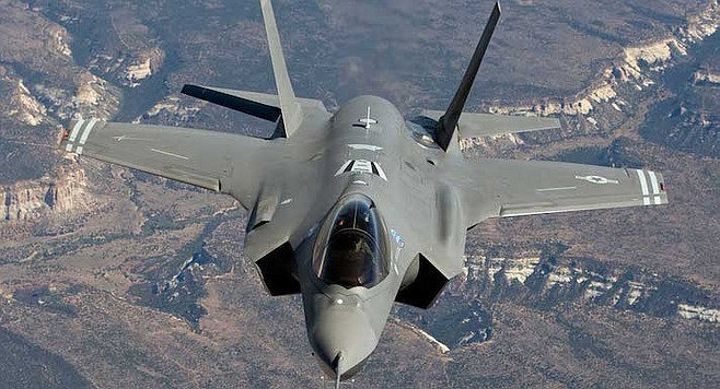 "F-35 Lightning. ""They are tearing down old hangars and building new ones to house the jet."""
