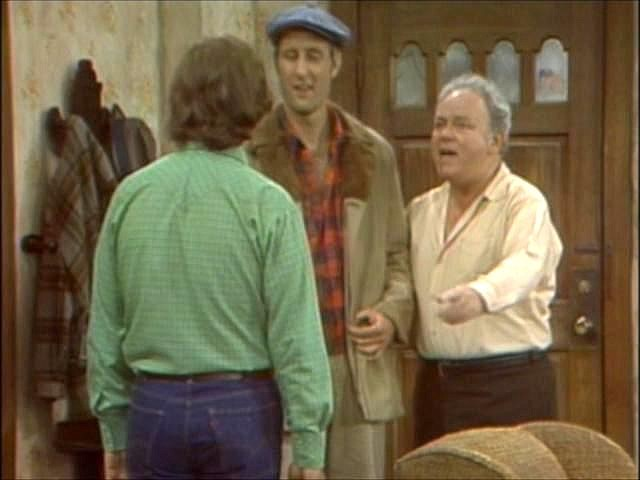 Meeting of the Meatheads: Archie (Carroll O'Connor) introduces son-in-law Mike (Rob Reiner) to co-worker/funniest man on earth, Stretch Cunningham (James Cromwell).