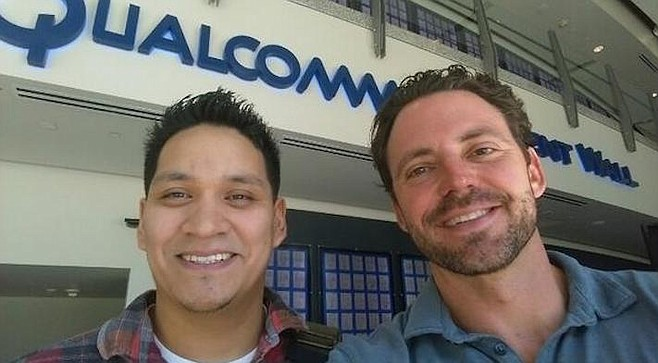 Nathan Fletcher (right) at Qualcomm. When Donald Trump bested Clinton, Fletcher used his Twitter account to repeatedly bash the Republican for his anti-immigration policies.
