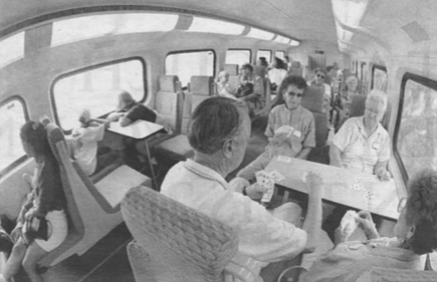 As we pull away from San Diego, 23 people are in the upper-deck car I've picked at random, 21 of them Caucasian. No children, no old people, no shabbily dressed, no unfashionable amounts or styles of hair, no tattoos, no men in undershirts or women in lime-green polyester, no lunch pails, prison T-shirts.