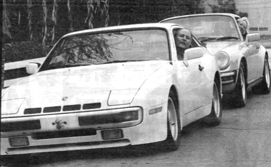 """Vince and Cecelia Knauf in their cars. Cecelia: """"I got into a Porsche at Alan Johnson's,  down in the Sports Arena area, and two and a half blocks I drove it, and that was it."""""""