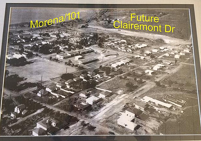 "Bay Park before I-5. One Clairemont resident: ""Morena was not a part of old 101. I-5 was built over where 101 was. As an early teen we used to run across the 101 or crawl under it to go fishing at Mission Bay where the Hilton is now."""