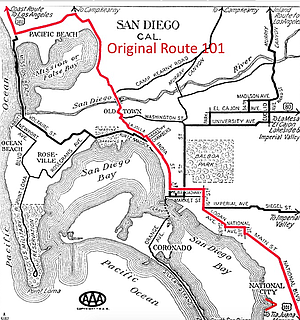 Original 101 in 1926. Potter confirmed that Morena Boulevard, between Taylor Street and Balboa Avenue/Garnet Avenue, was part of the original Route 101.