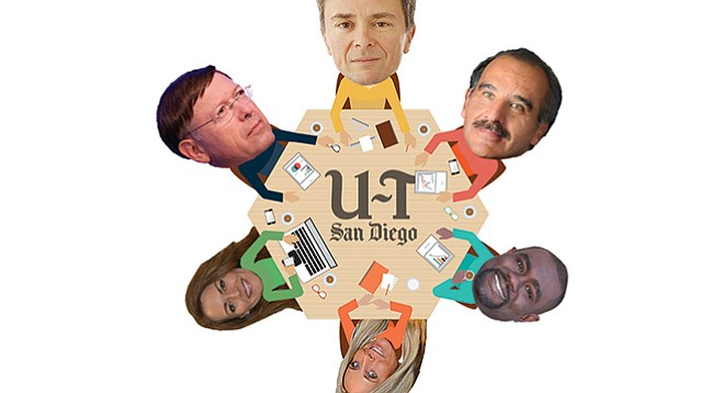 The U-T's latest community advisory editorial board is packed with PR people and controversial former politicos. Clockwise from top: Jeff Light, David Bejarano, Dwayne Crenshaw, Stephanie Brown, Teresa Acosta, Jan Goldsmith.