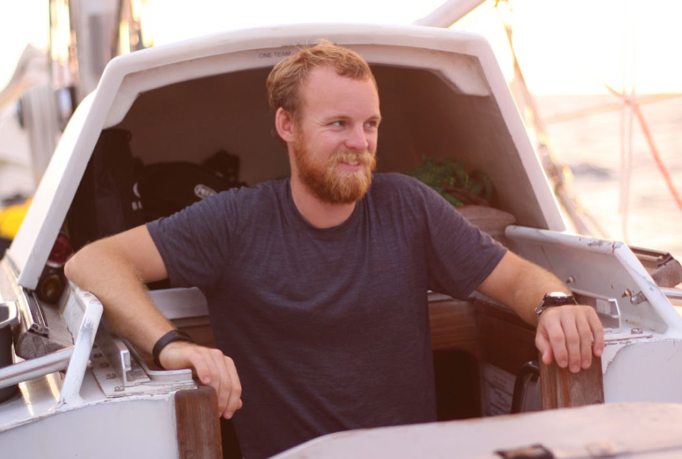 Scotty the skipper. He and a skeleton crew sailed her across the Atlantic and through the Panama Canal.