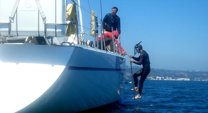 Lecomte took his snorkel radio for a dip in San Diego harbor. - Image by Léa Hagemeier.