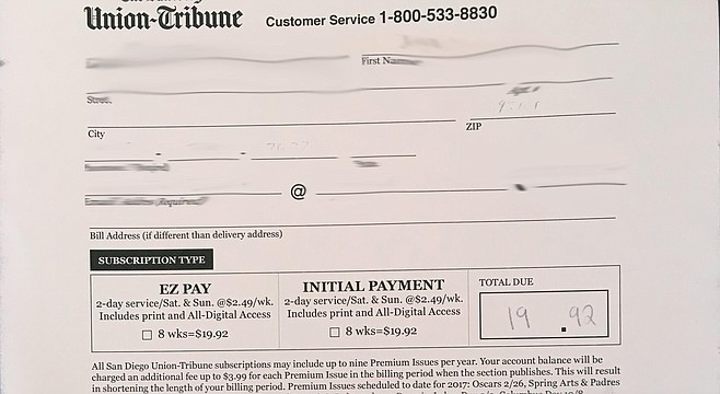 Union-Tribune order receipt.