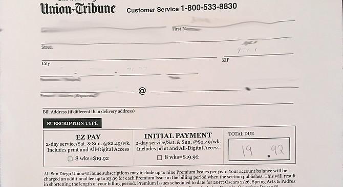 Union-Tribune order receipt.