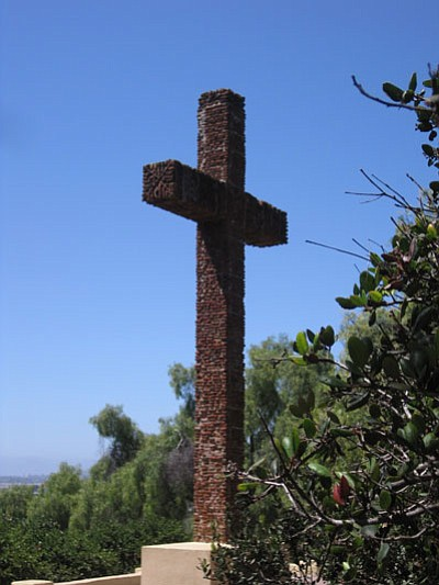 The Padres' Cross, constructed in 1913 with tiles from the Presidio ruins.