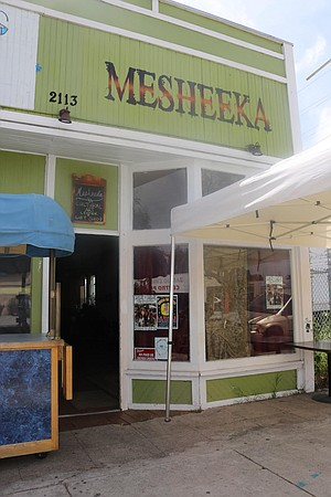 The Chucas y Cholas group art exhibition took place at Mesheeka, a block and a half away from Chicano Park.