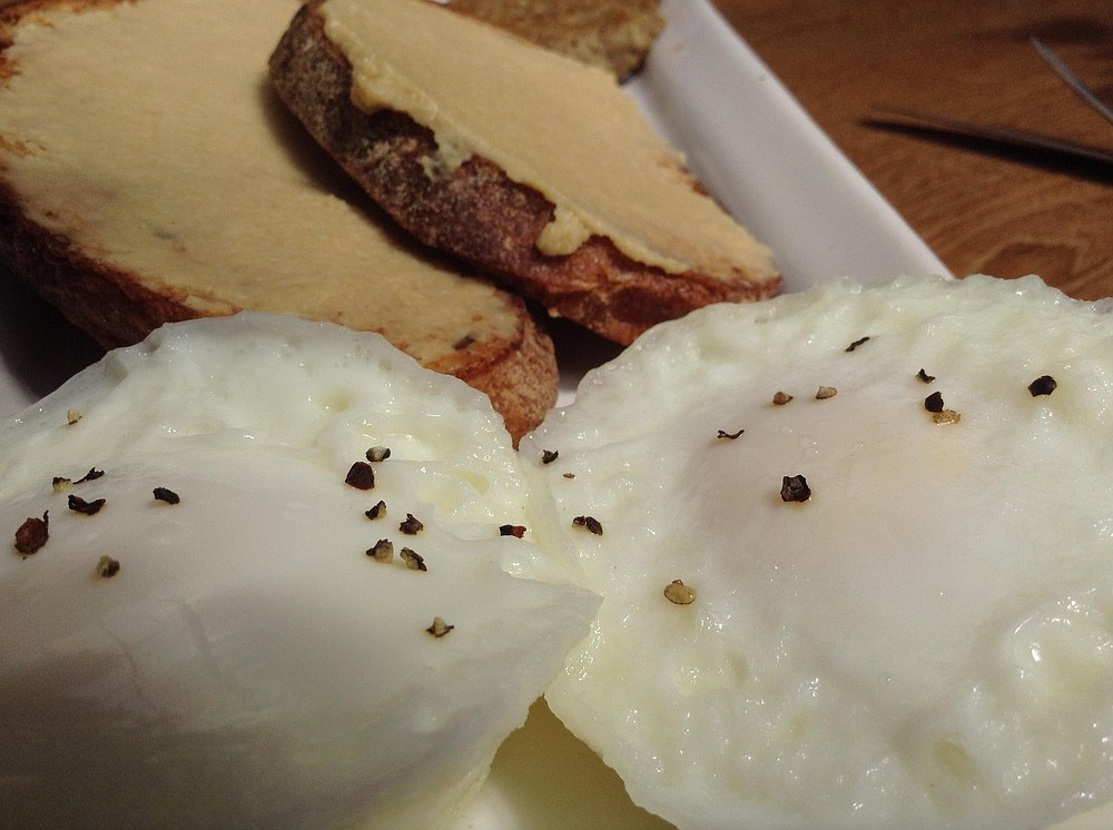 Really basic- two eggs come naked except for a few peppercorns.