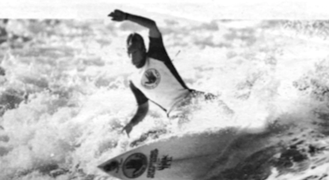 """Joey Buran, 1986. """"They want to make sure that when that kid's out  surfing at Black's Beach, there's an eight-inch logo of their company on both sides of his board.""""  - Image by Rick Doyle"""
