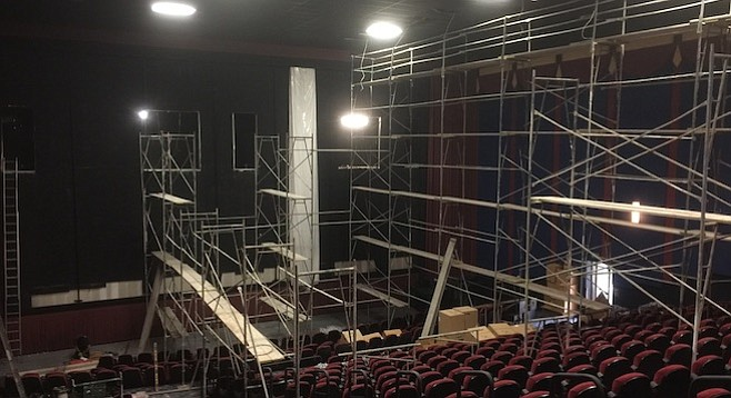 Floor-to-ceiling scaffolding? Room One facelift at Grossmont.