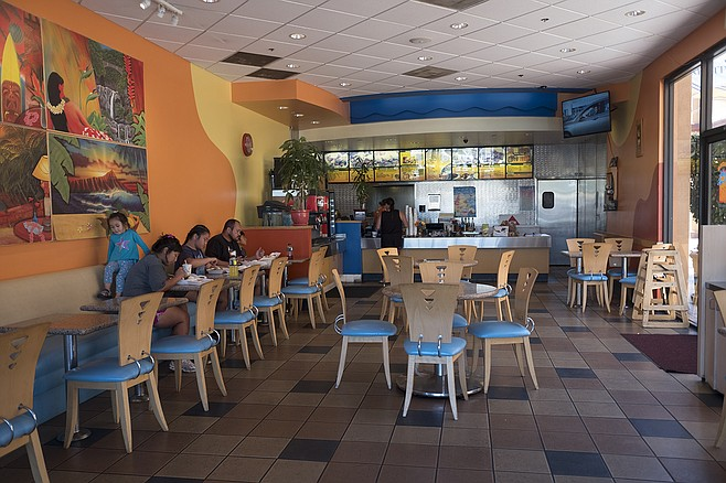 A colorful interior, conducive to the consumption of meat