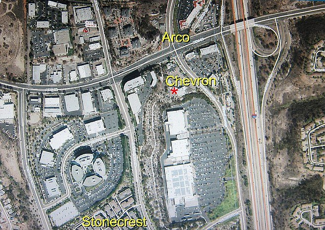Norby neglected to mention that Stonecrest Village is quite a distance from Arco and is actually closer to the Chevron/Happy Car Wash.