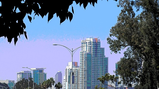 This is a photo of downtown skyscrapers I shot on May 2, 2017, from Park Blvd., outside the Veterans Museum in Balboa Park. I then posterized it in Photoshop.