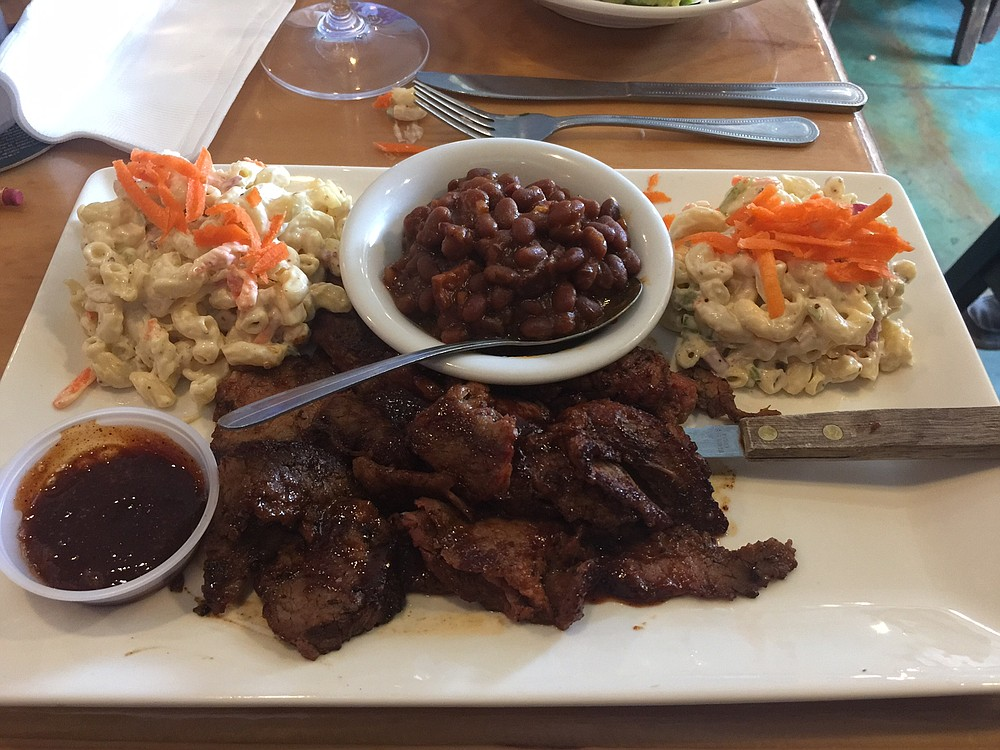 The BBQ plate features tri-tip reminiscent of the famous Santa Maria recipe.
