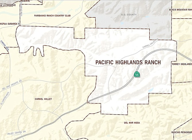 Pacific Highlands Ranch is sandwiched between Fairbanks Ranch, Carmel Valley, Torrey Highlands, and Del Mar Mesa.