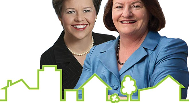 """Developer Jennifer LeSar (left) has definitely benefited from governmental decisions made by her spouse, Toni Atkins — """"colossal conflict of interest,"""" say some."""