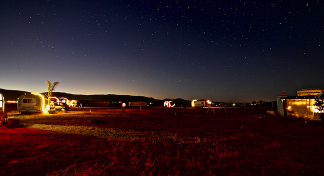 Nighttime at the glamping site in Valle Guadalupe, about two hours south of San Diego.