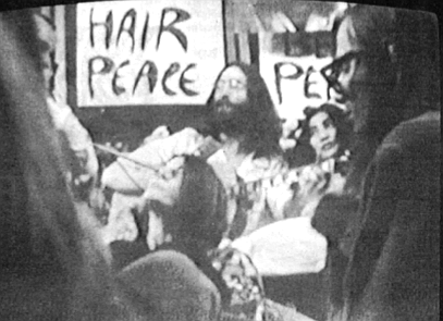 Williams (right) at Bed-In for Peace. When we got there, John and Yoko were in bed, of course, in a huge hotel room with a fair crowd of cameramen and Hare Krishnas and newspaper reporters.