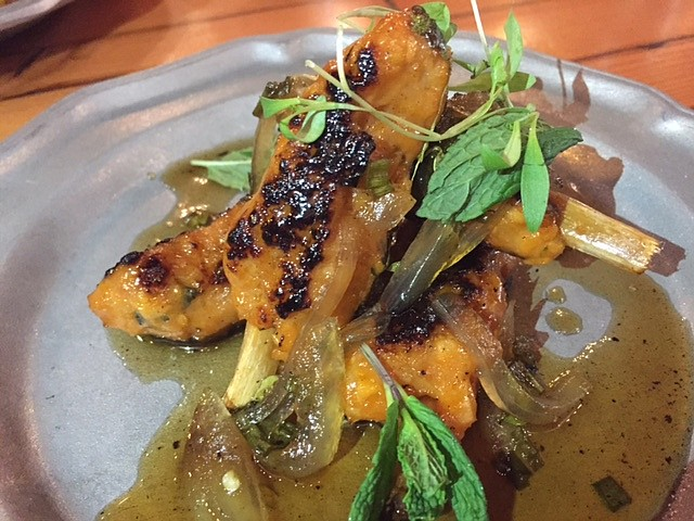 The Thai Chicken Skewers are flavored with basil, mint, and skewered with sugar cane