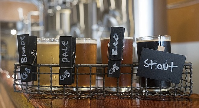 A few of the beers on hand for the debut of Third Avenue's Chula Vista Brewery.