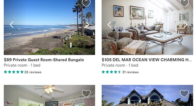 """Del Mar Airbnb page. Jackson suggested permits and regulations, as Solana Beach has. """"If say, quiet hours are broken, they get a ding on their permit."""""""