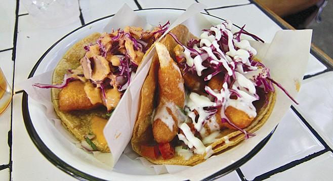 La Taqueria Vegiee vegan shrimp and fish