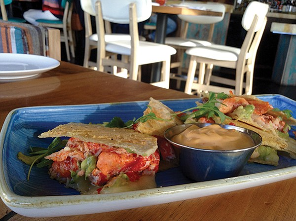 Tons of meat in the lobster quesadilla at Kona Kai's restaurant, Vessel