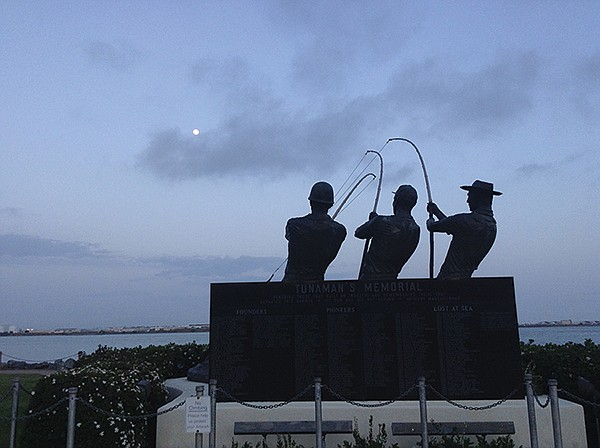 Tunamen's memorial sculpture tells you you're almost at the Kona Kai