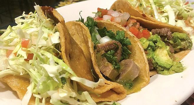 El Zarape — potato/lengua/carne/calamari tacos