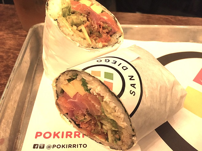The Pokirrito Classic is a sushi burrito with tuna, crab meat, tamago, and broccoli slaw.