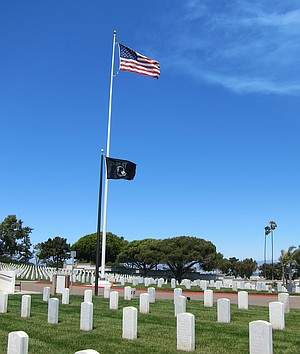 "MIA flag at Ft. Rosecrans. ""I was totally emotional, I was bawling my eyeballs out."""