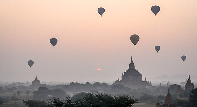 Hot air balloons over Bagan.