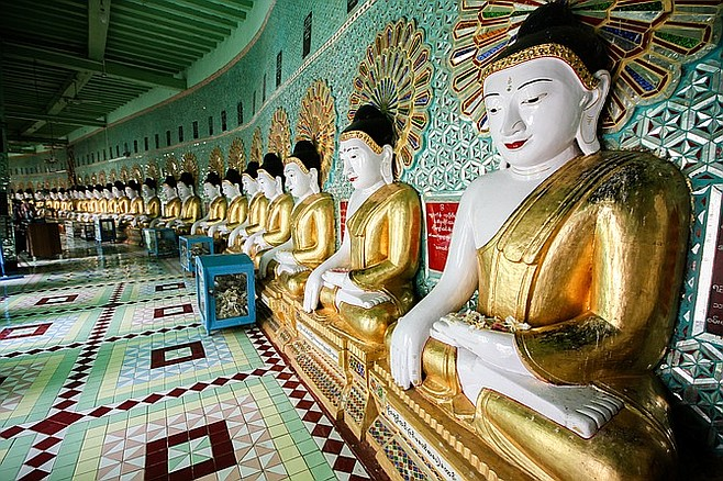 Many Buddhas on Sagaing Hill in Mandalay.