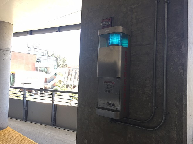 Each floor in the parking structure has a callbox that connects directly to the college police station.
