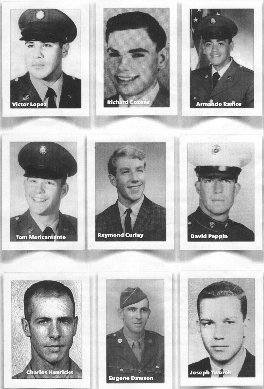 Nine of the 20 fallen San Dieguito alumni: Lopez, Cozens, Ramos, Mericantante, Curley, Peppin, Henricks, Dawson, Tworek