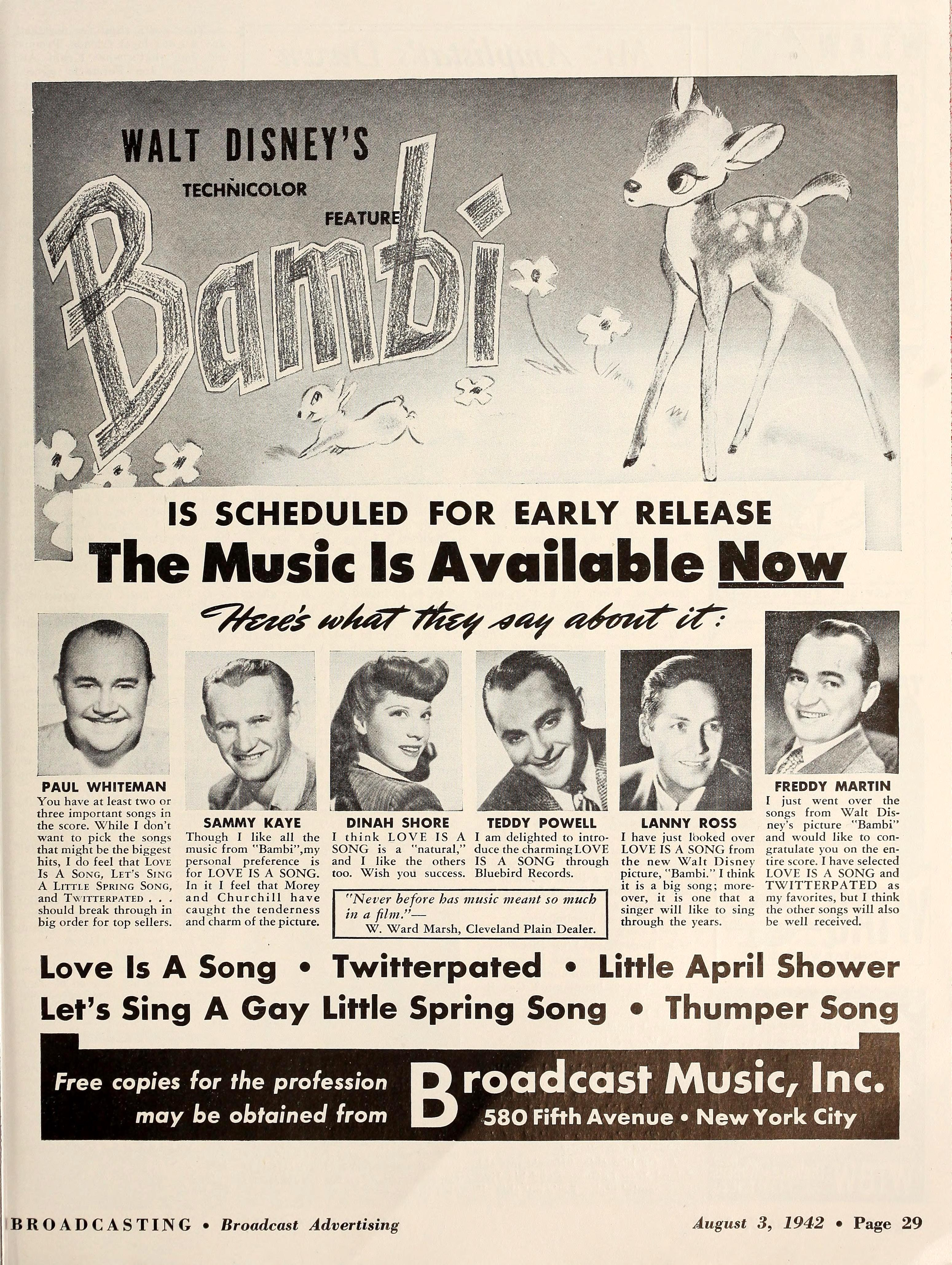 All of your favorites perform the hits from Bambi. Broadcasting, August 3, 1942.