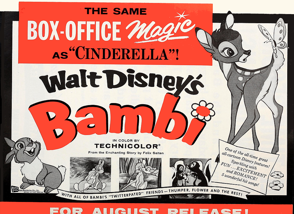 Bambi's first reissue following the release of Cinderella. Motion Picture Daily, July 1958.