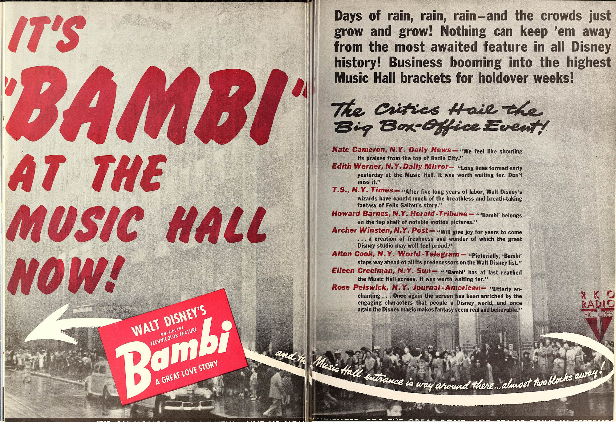 Trade ad for the premier of Bambi at Radio City Music Hall. Motion Picture Herald, August 22, 1942.